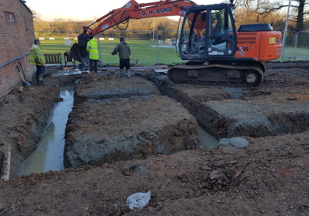 Foundations being dug at Binfield FC. Photo: Glenn Duggleby.