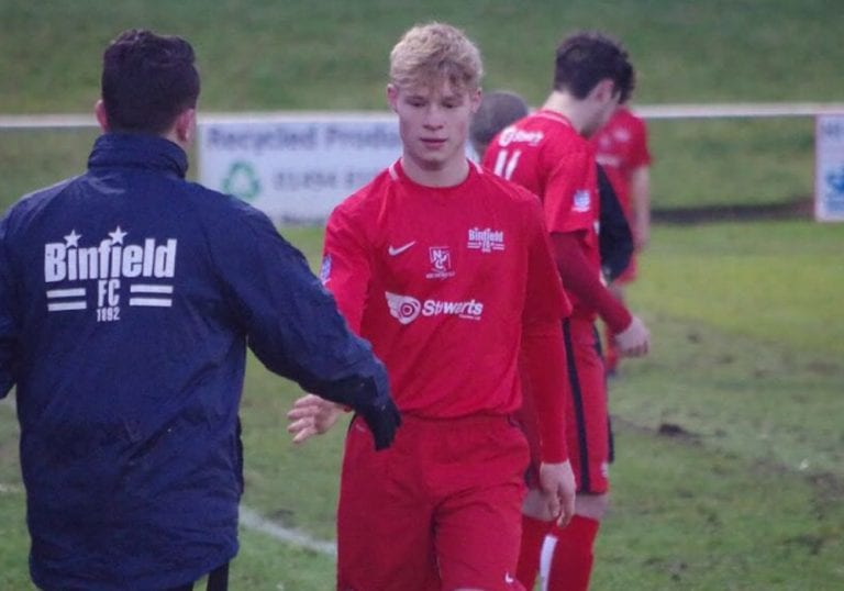 Binfield FC's George Smith. Photo: James Green.