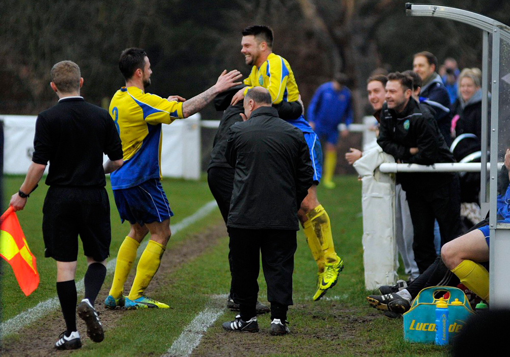 Jack Smillie celebrates scoring for Ascot United. Photo: Mark Pugh.