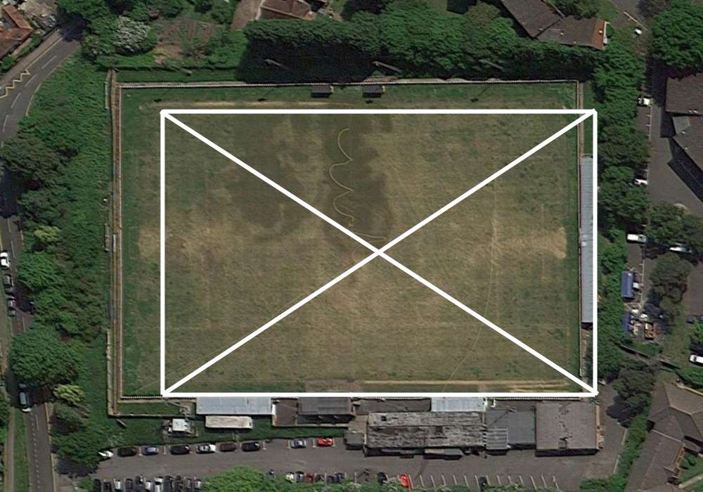 Larges Lane from above with new pitch overlay. Google Maps.