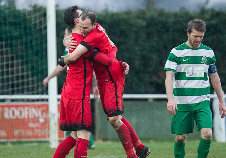 Binfield celebrate scoring against Newport Pagnell Town. Photo: Colin Byers.