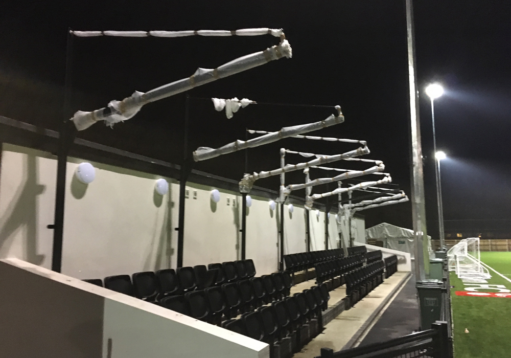 The roof on Bracknell Town's new stand is ready to go on. Photo: Tom Canning.