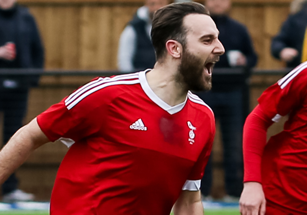 Adam Cornell celebrates for Bracknell Town FC. Photo: Neil Graham.