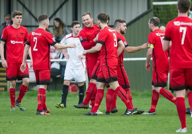 Binfield celebrate scoring against Henley Town. Photo: Colin Byers.