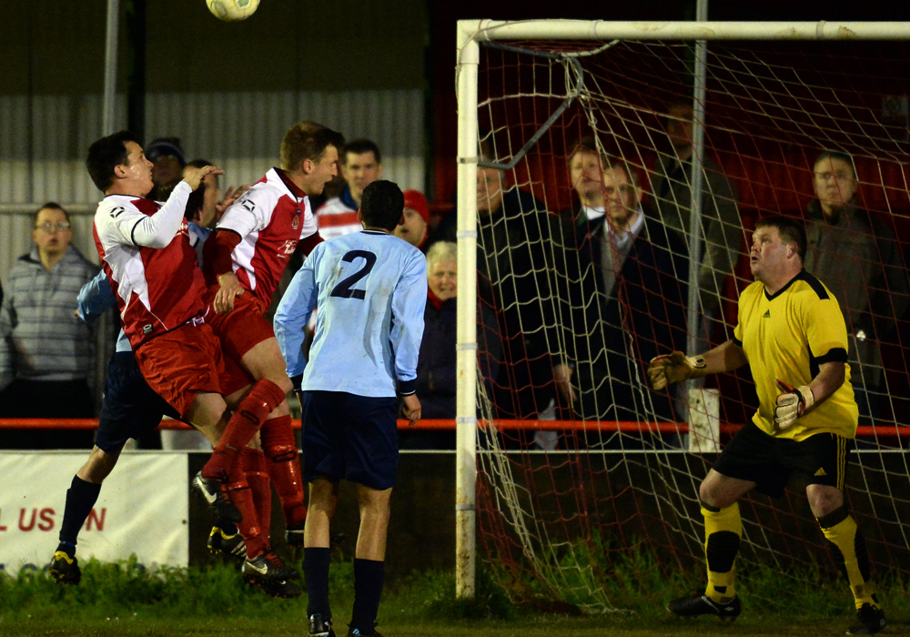 Danny Oliphant and Dan Sleet pile in at the far post as Bracknell Town draw 0-0 with Headington Amateurs in Division 1 East. Photo: getreading.co.uk