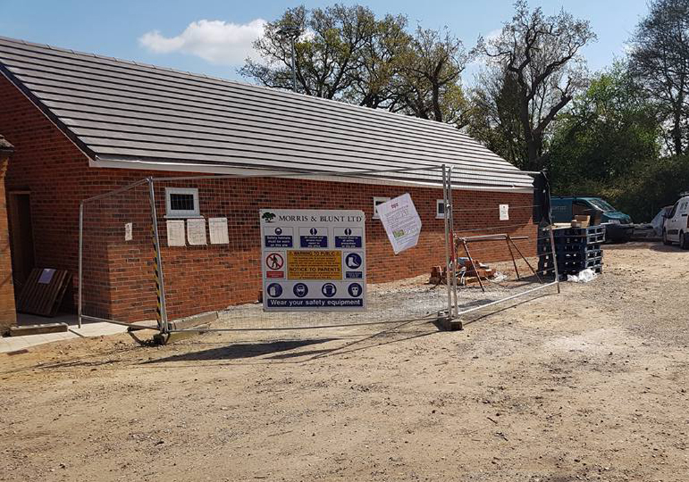 The roof is on at Binfield FC's new development. Photo: Glenn Duggleby.