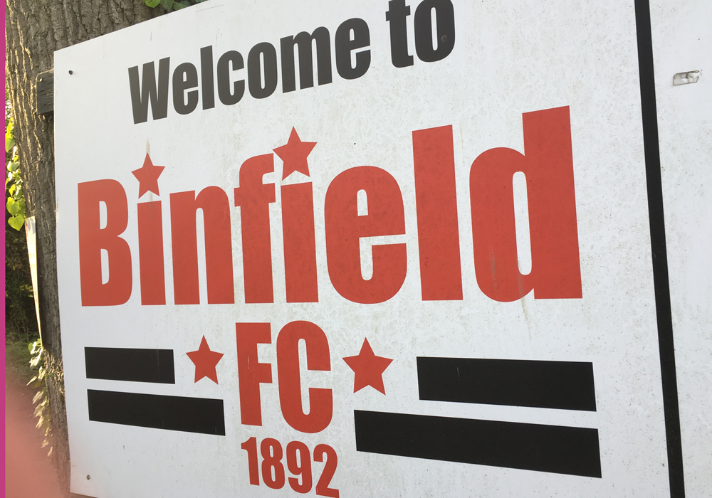 Welcome to Binfield FC sign.