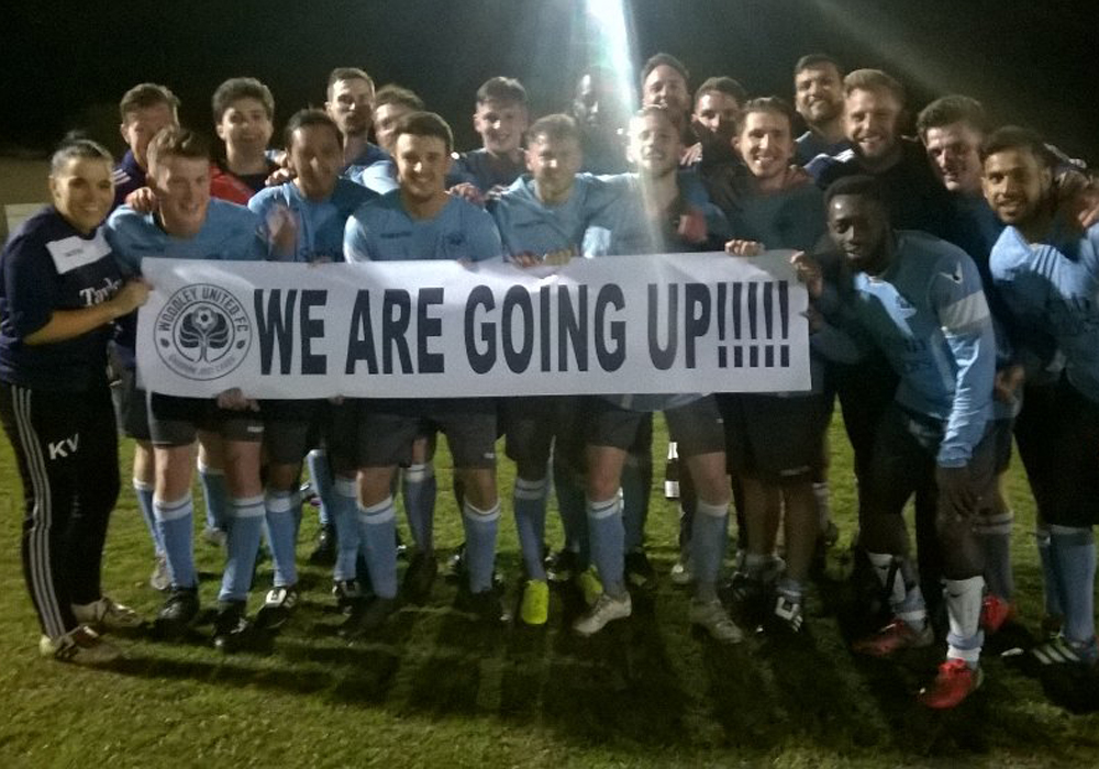 Woodley United celebrate promotion. Photo: @woodleyunitedfc