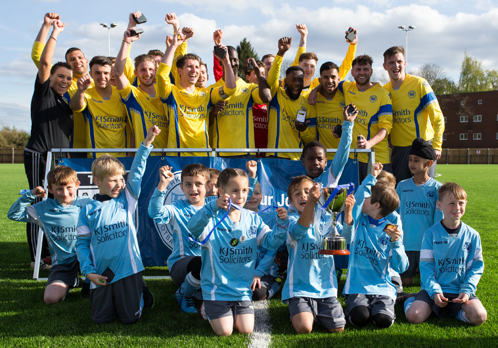 Woodley United celebrate their County Cup Final win. Photo: Richard Claypole.