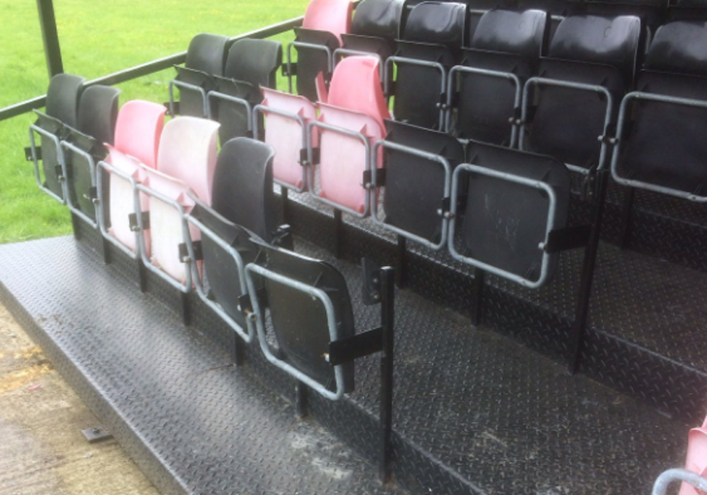 Damage to the stand at Sandhurst Town. Photo: @sandhursttownfc