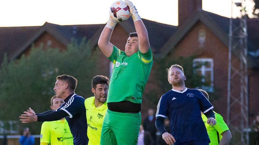 Liam Vaughan in goal for Binfield FC. Photo: Richard Claypole.