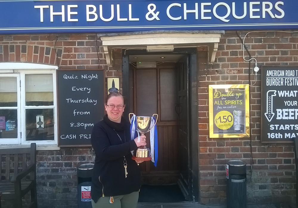 Woodley United trophy tour at the Bull & Chequers pub.