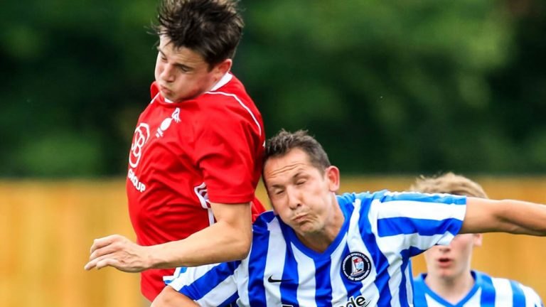 Action from Bracknell Town vs Cowes Sports in the FA Cup. Photo: Neil Graham.