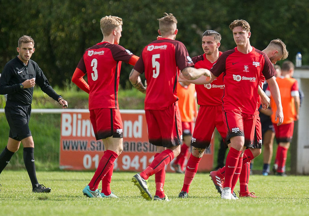 Binfield celebrate in the FA Cup against Horndean. Photo: Colin Byers.