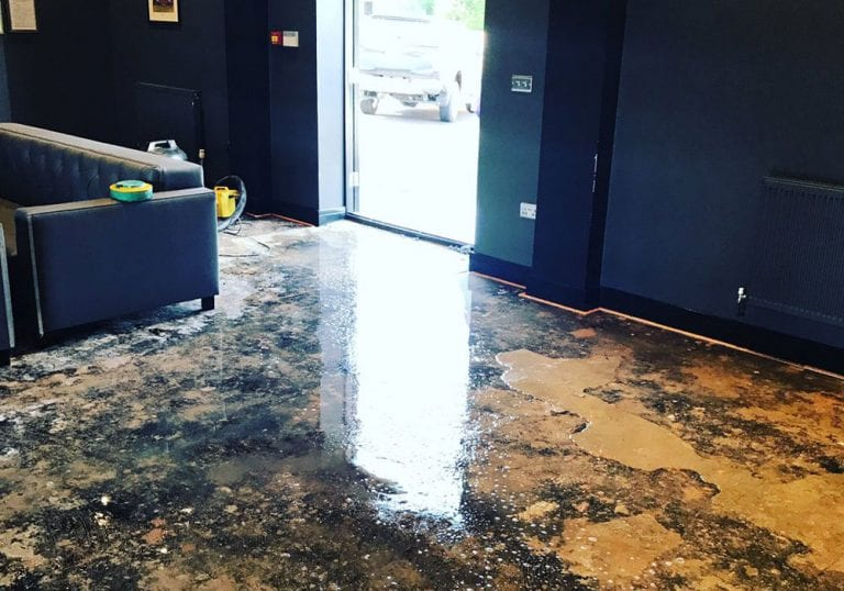 Water damage at Bracknell Town's bar.