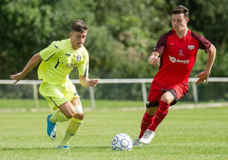 Luke Hayden in action for Binfield against Horndean in the FA Cup. Photo: Colin Byers.
