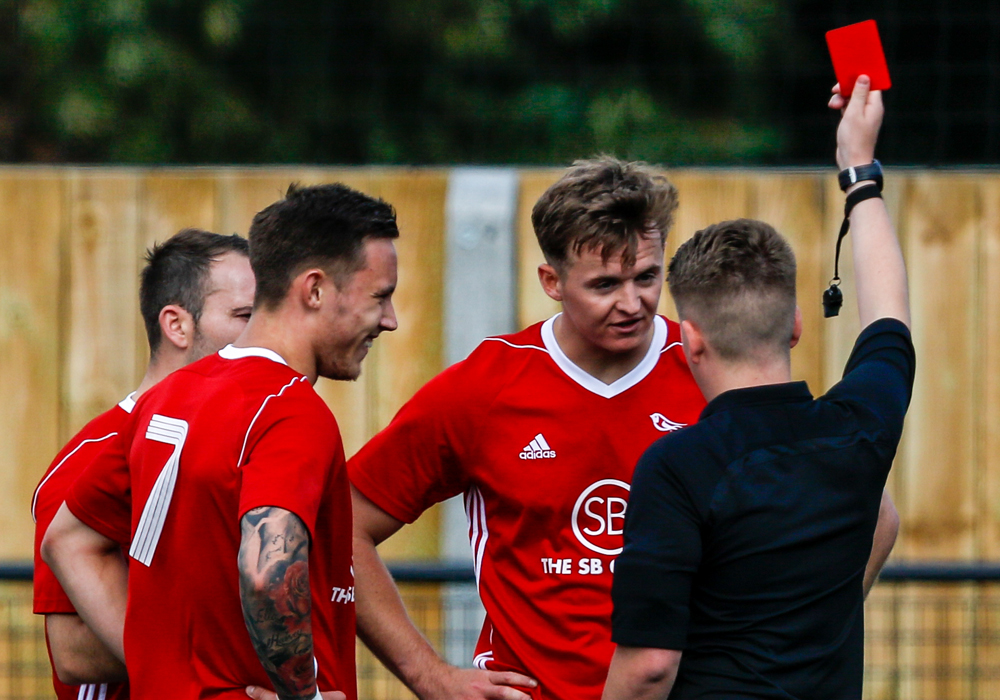 Rob Gerrard is sent off for Bracknell Town. Photo: Neil Graham.