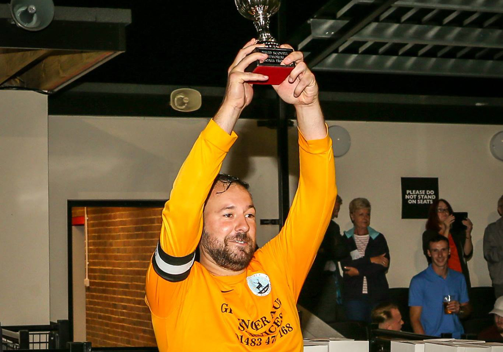 Berkshire All Stars lift the Goals Cup trophy. Photo: Neil Graham.