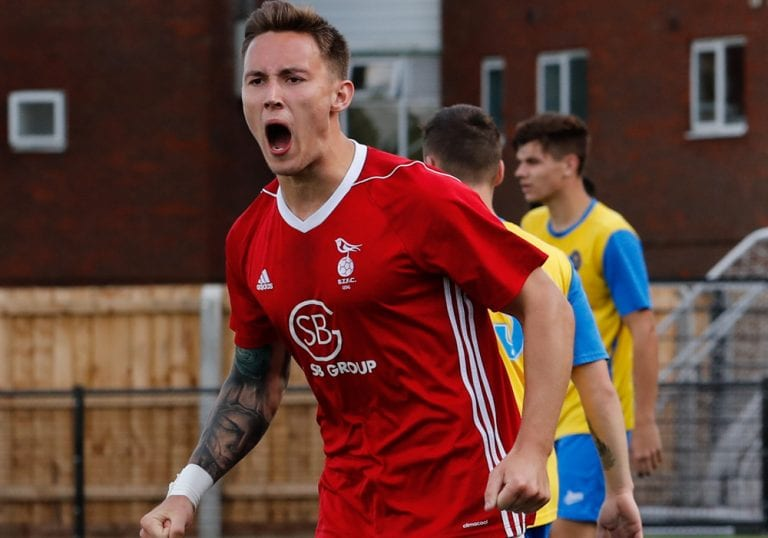 Joe Grant celebrates for Bracknell Town. Photo: Richard Claypole.