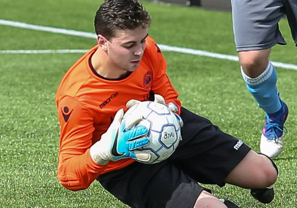 Woodley United goalkeeper Alex Reed. Photo: Neil Graham.q