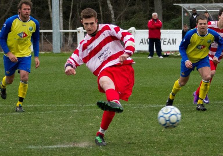 Ben Harris scoring against his new club Ascot United for Bracknell Town. Photo: Rob Mack.