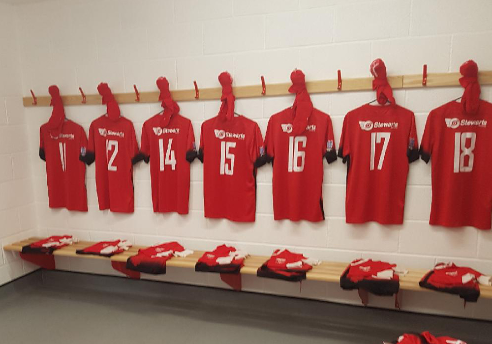 Inside Binfield's new changing room facility.