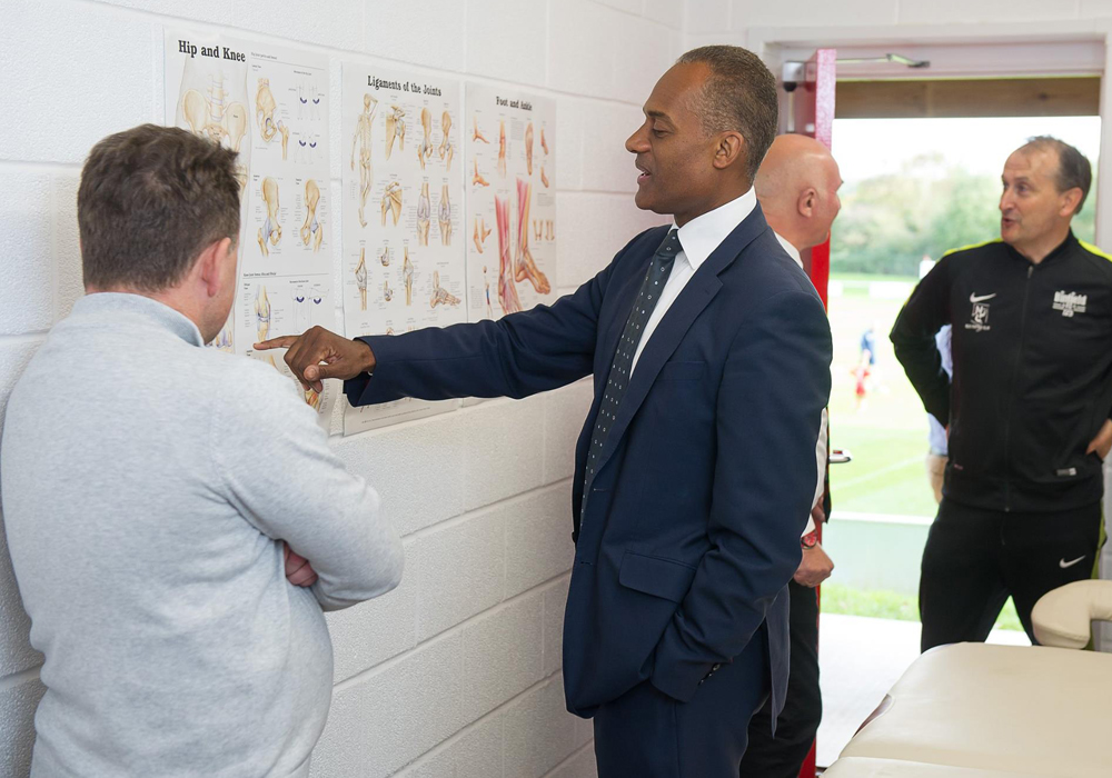 MP Adam Afriyie in the medical room at Binfield. Photo: Colin Byers.