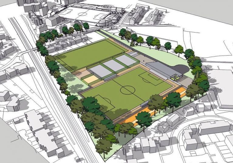 The planned Ranelagh School sports facility with Bracknell Town's ground in the back ground. Photo: Bracknell Town FC