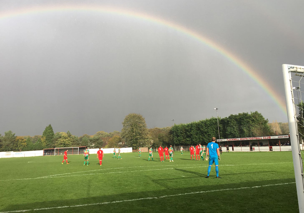 A rainbow over Flackwell Heath's Wilks Park ground. Photo: Paul Smithson.