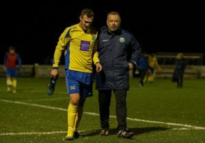 Ben Harris and Ascot United manager Neil Richards. Photo: Neil Graham.