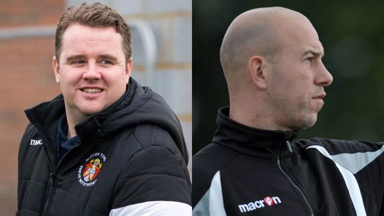 Slough Town managers Neil Baker and Jon Underwood. Photo's: Neil Graham (left) and Get Surrey (right).