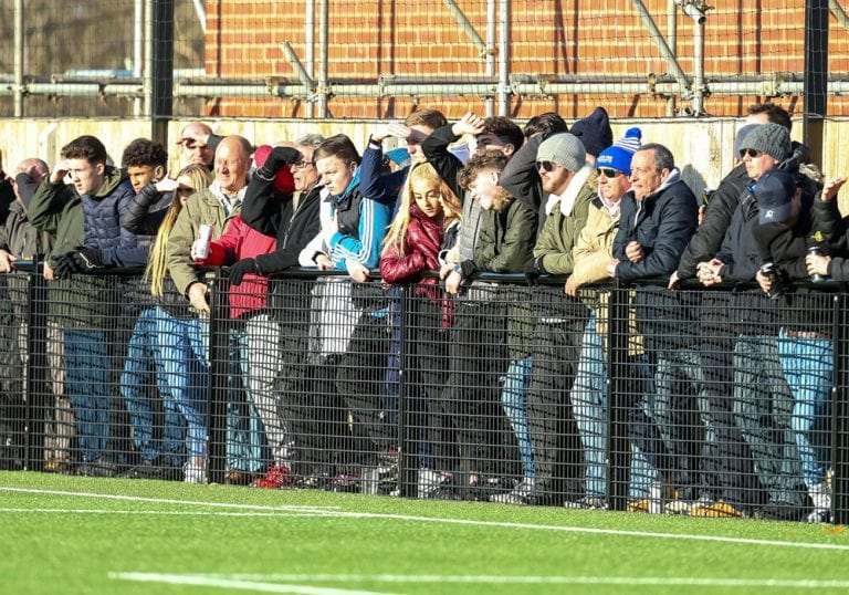 The crowd at the Larges Lane end during Bracknell Town's FA Vase quarter final with Marske United. Photo: Neil Graham.
