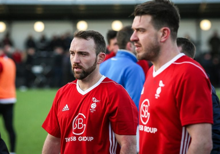 Jamie McClurg and Carl Davies reflect on the FA Vase defeat. Photo: Neil Graham.