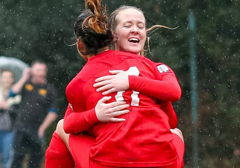 Binfield Ladies Charisse Tregear and Nicole Edwards celebrate a goal. Photo: Neil Graham.