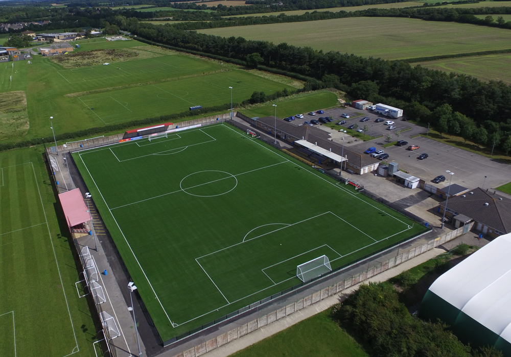 Cirencester Town's Corinium Ground from the air.