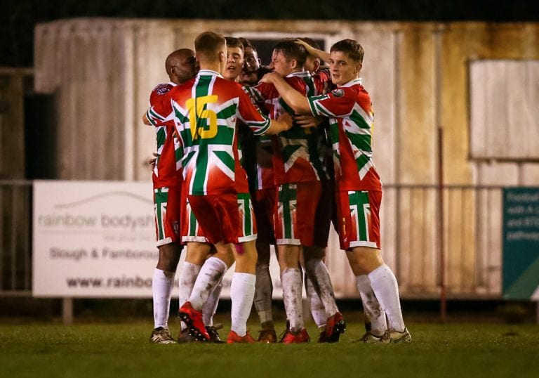Windsor FC celebrate against Binfield FC. Photo: Neil Graham.