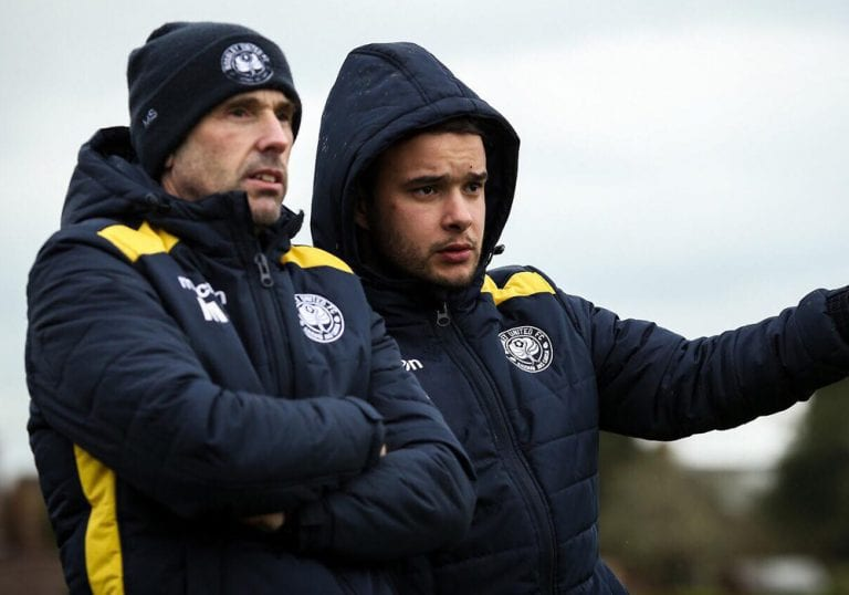 Marc Surtees and Nuno Antunes - Woodley United Ladies management team. Photo: Neil Graham.