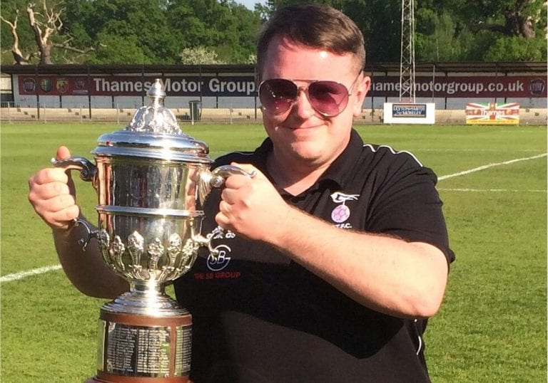 Ricky Simons with the Hellenic League Challenge Cup.