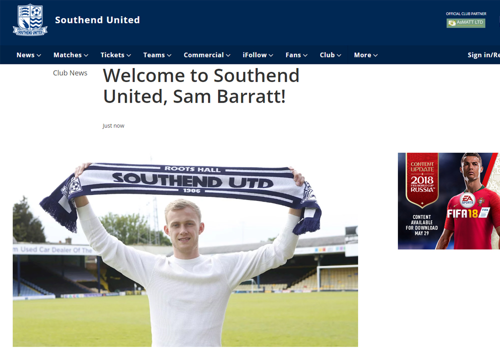 Sam Barratt unvelied at Southend United.