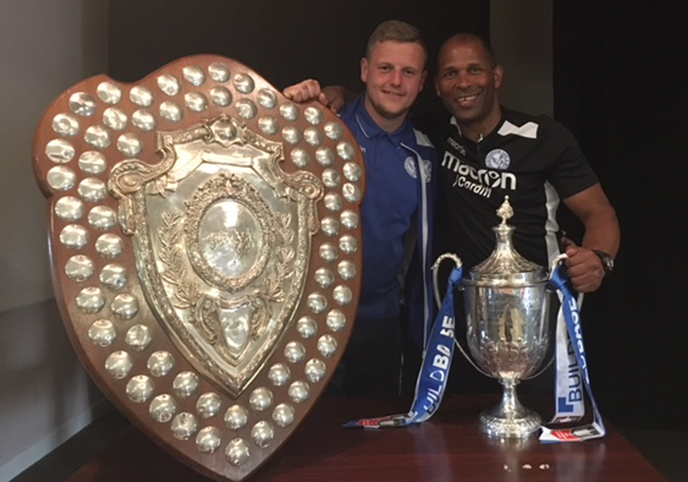 Thatcham Town's Shane Cooper-Clark and Keith Pennicott-Bowen with the FA Vase.