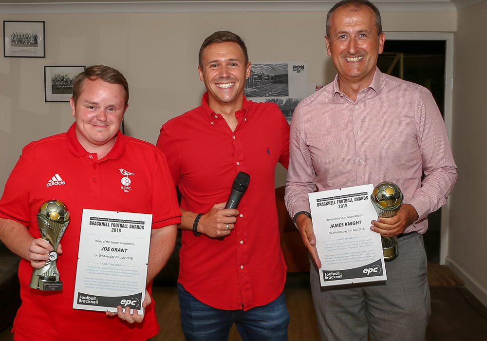 Bracknell Town's Ricky Simons and Binfield's Roger Herridge accept the awards on behalf of their players. Photo: Neil Graham