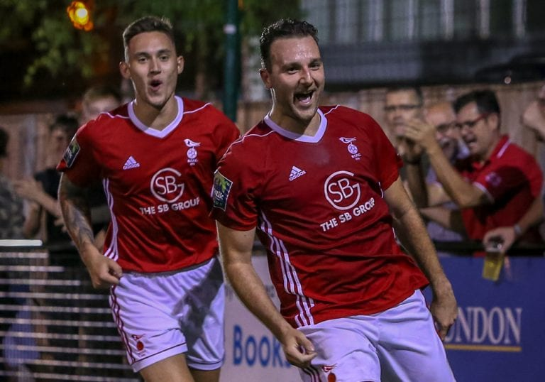 Adam Cornell celebrates scoring against Kingstonian. Photo: Neil Graham.