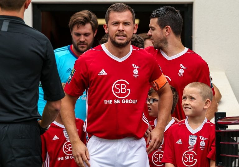 Dave Hancock leads Bracknell Town out in the Bostik League for the first time. Photo: Neil Graham.