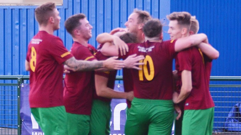 Holyport celebrate a goal in the Supplementary Cup Final. Photo: Richard Tyrell.
