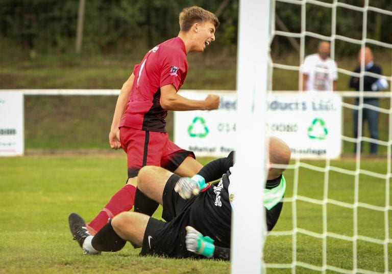 Eddie Lee scores for Binfield in the FA Cup. Photo: Neil Graham.