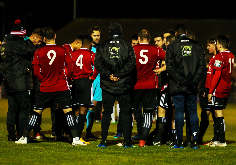 Bracknell Town at full time of their FA Trophy tie in Bognor. Photo: Neil Graham.