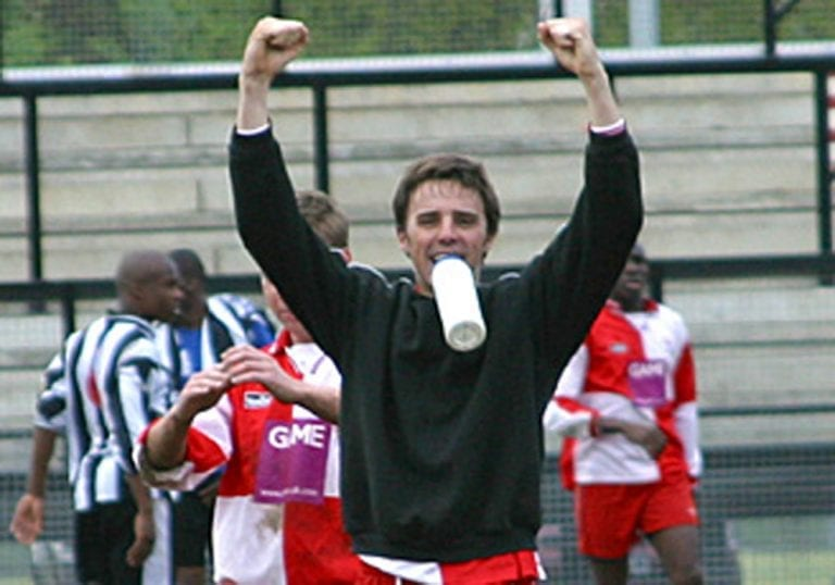 Gavin Smith celebrates after Bracknell Town's win at Tooting & Mitcham United in 2003. Photo: Richard Claypole.