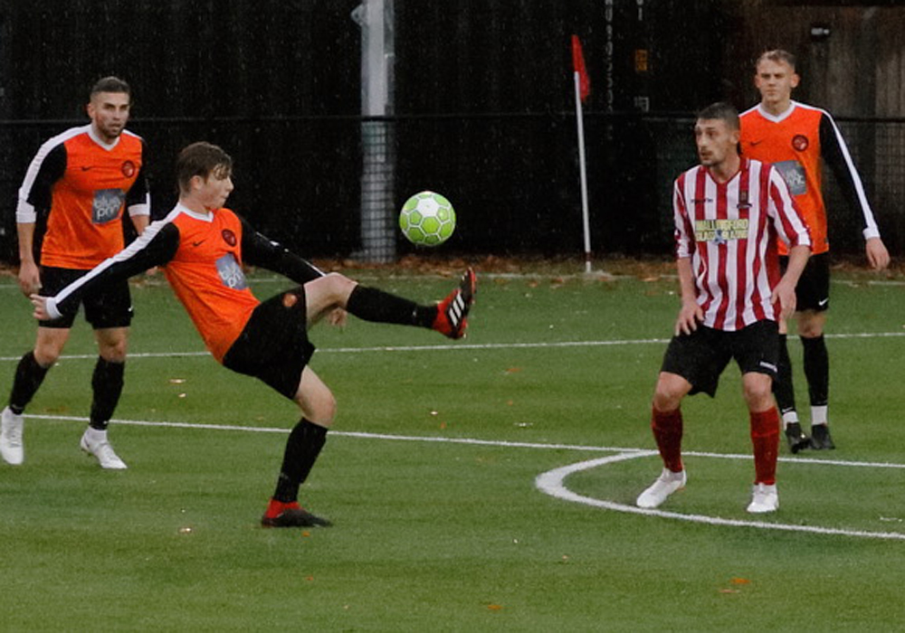 Wokingham & Emmbrook's Josh Harris in action against Wallingford Town. Photo: Graham Tabor.