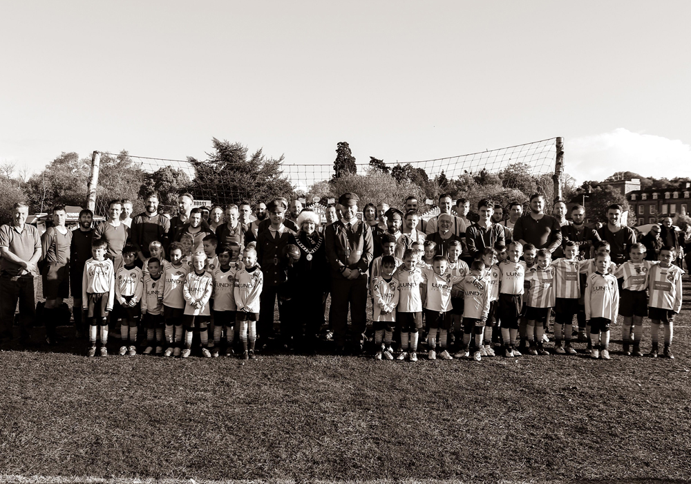 Everyone that took part in the Remembrance Sunday game at South Hill Park. Photo: Neil Graham.