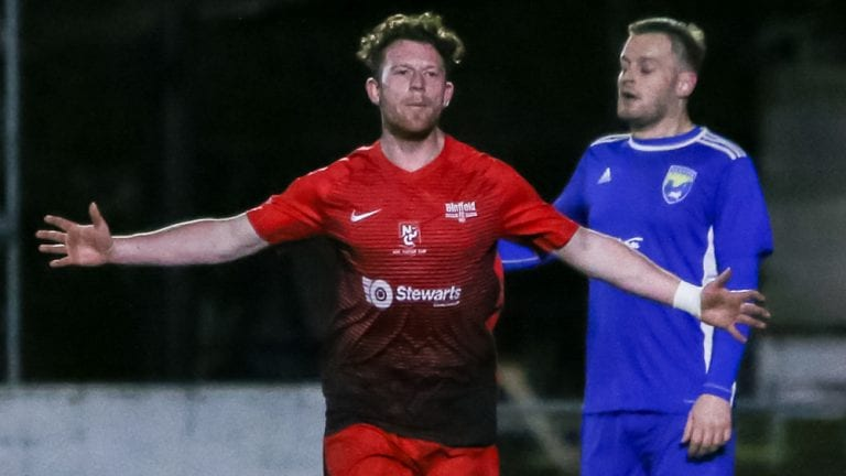 Danny Horscroft celebrates for Binfield FC. Photo: Neil Graham.